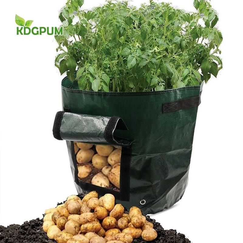 budong Homemade Organic Ferment PE Compost Bag Environmental Compost Bag Composter Bin Planter Kitchen Organic Waste Disposal Compost Bag Remains Bin for Garden Yard 35x60CM