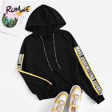 Romwe Sport Letter Print Drawstring Hoodies Women 2019 Autumn Long Sleeve Black Sweatshirt Fitness Running Pullovers Ladies Tops