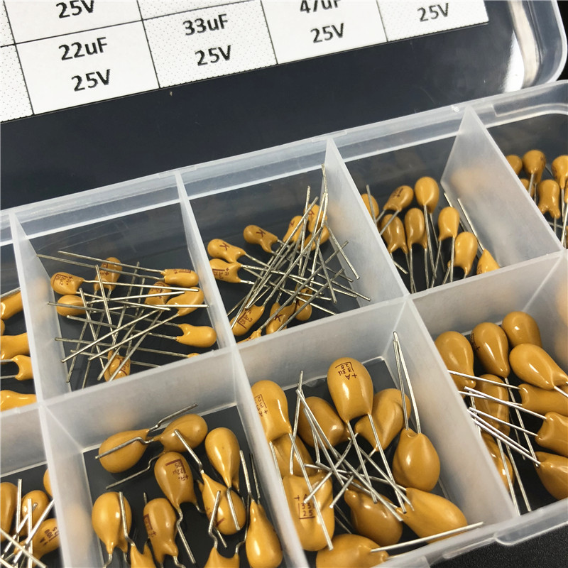 Image 3 - 10values 100pcs 25V 1uF 2.2uF 3.3uF 4.7uF 6.8uF 10uF 22uF 33uF 47uF 68uF tantalum capacitor assorted kit with storage boxcapacitor assortment kitassorted kitcapacitor assortment -