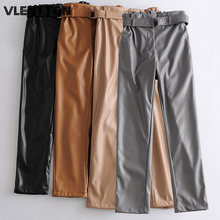 Осенне зимние женские винтажные брюки из искусственной кожи
