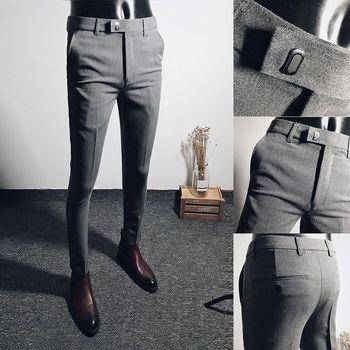 Letnie męskie eleganckie spodnie codzienne czarne elastyczne legginsy jesienno-zimowe długie spodnie styl Slim w koreańskiej wersji garnitur spodnie tanie i dobre opinie Dunayskiy CN (pochodzenie) COTTON Wiosna i jesień Elegancko na luzie Biuro M09ZELA6587 Mieszkanie na zamek błyskawiczny