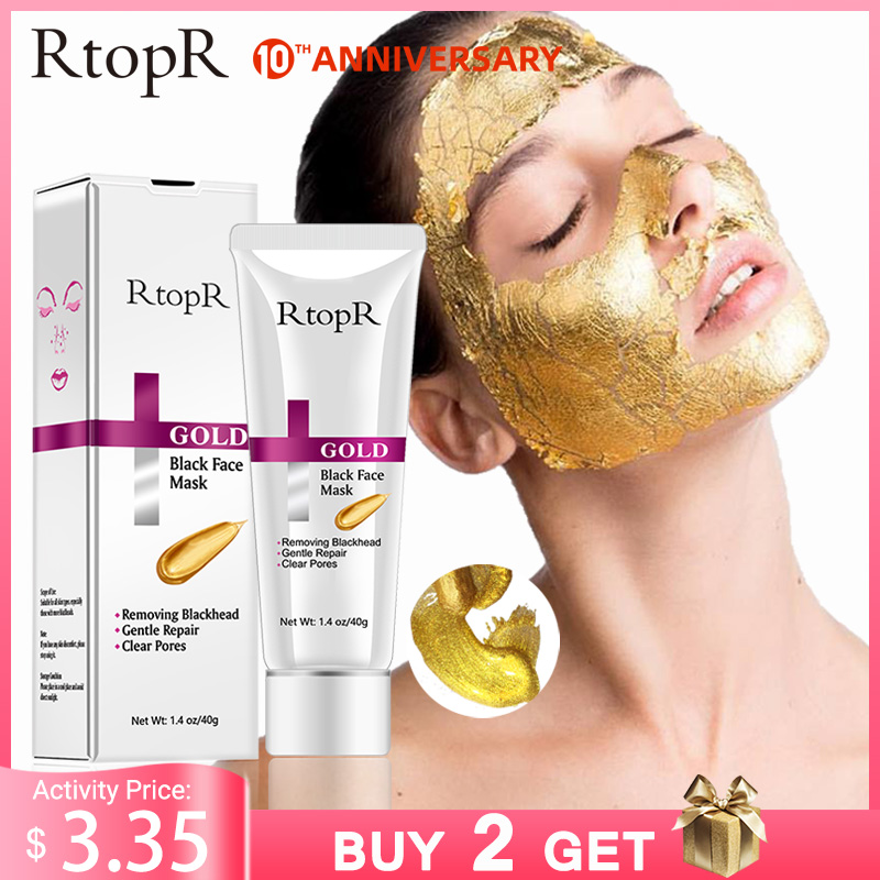 RtopR New Gold Remove Blackhead Mask Face Pore Peeling Acne Treatment Nose Deep Cleansing Face Whitening Hydrating  Golden Mud