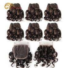 Human-Hair-Bundles Hair-Extensions Short-Hair Closure Curly Women with for Black 7pcs/Lot