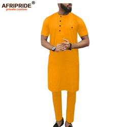 2019 Afrikaanse Mannen Kleding Set Dashiki Lange Jassen Print Shirts en Ankara Broek Tribal Outfits Trainingspakken AFRIPRIDE A1916011