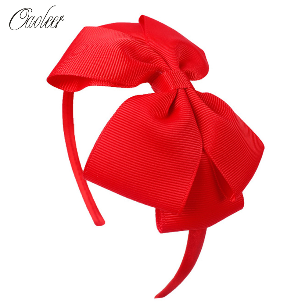 Oaoleer Hair Accessories 4'' Bow Hairband For Girls Handmade Solid Ribbon Headbands With Satin Hoops Kids' Daily Life Headwear