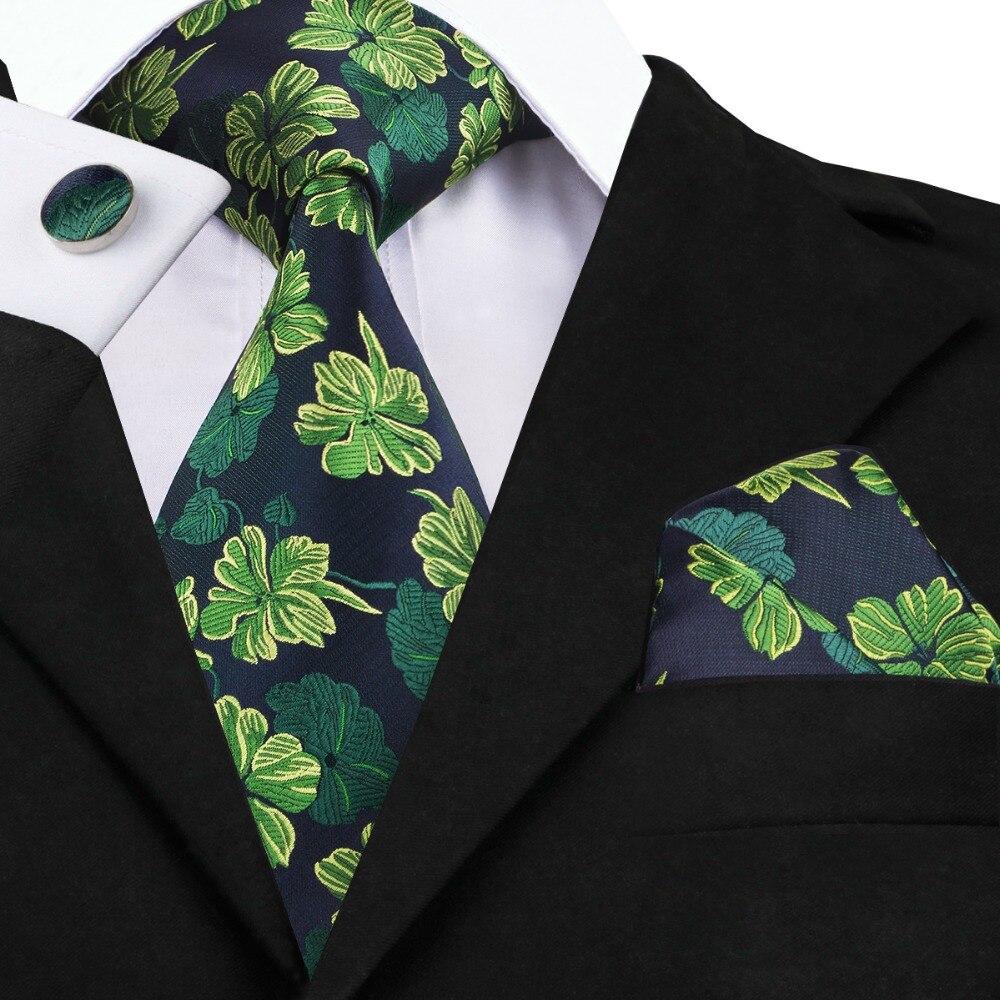 SN-1432 Dark Green Tie Hanky Cufflinks Set 2017 Silk Floral Neckties Hi-Tie New Design Ties For Men Business Wedding Party