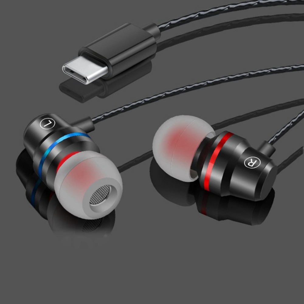 In Ear Earphone USB Type-C Earphones 4D stereo With Microphone volume control For Huawei Mate 10 Pro Xiaomi Mi 6 8 Mix 2 Note 3 image