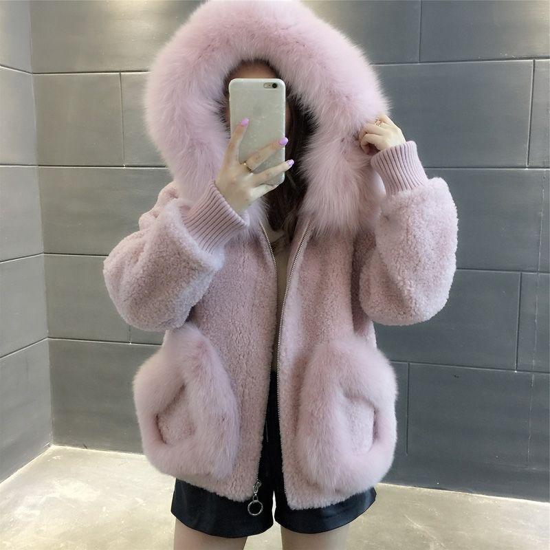 Suofun Casual Solid 2021 Fashion Artificial Fox Wool Collar Sheep Sheared Fur Coat Women's Winter Korean Hooded Short Fur Coats