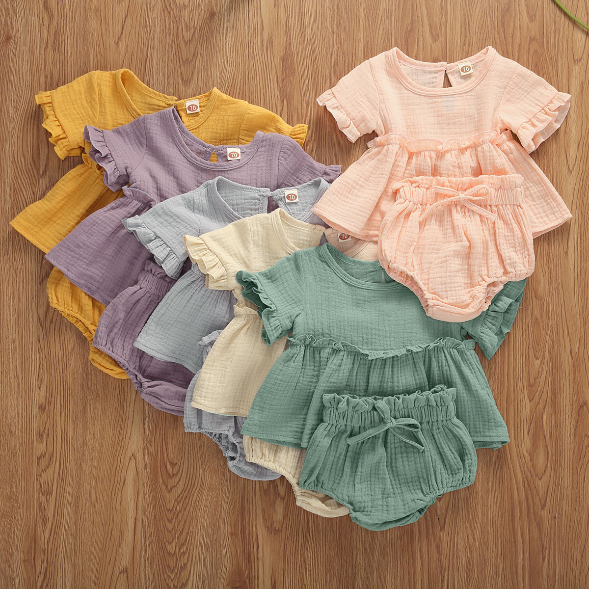 2020 Newborn Baby Girl Clothes Summer 2Pcs Sets Solid Color Outfit Ruffles Top Short Sleeve Tops+ Bow Bloosom Shorts Summer Set