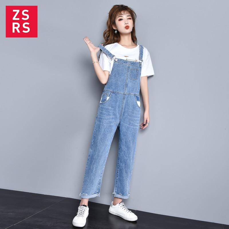 Zsrs New Autumn Women Blue Long Denim Jumpsuit Solid Casual Pocket Jeans Romper Fashion Female Long Overalls
