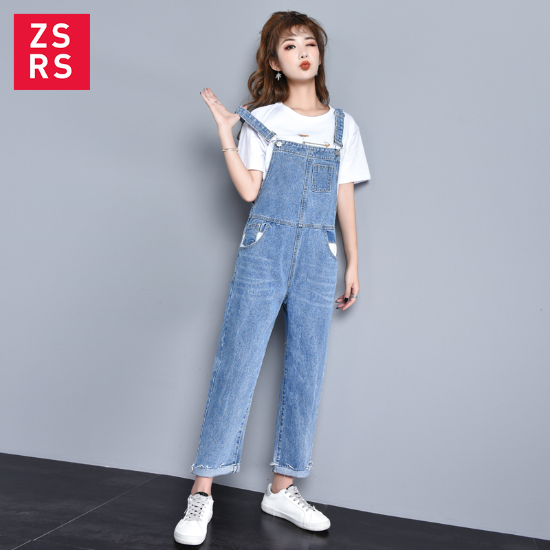 Zsrs New Autumn Women Blue Long Denim Jumpsuit Solid Casual Pocket   Jeans   Romper Fashion Female long Overalls