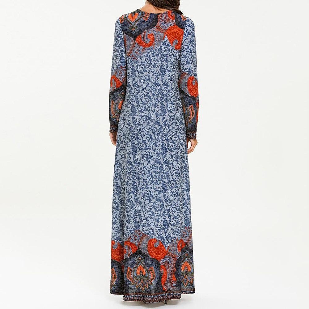 Купить с кэшбэком Vintage Female Muslim Dress Plus Size 4xl Floral Dubai Dress Maxi Abaya Jalabiya Islamic Women Clothing Robe Kaftan Moroccan