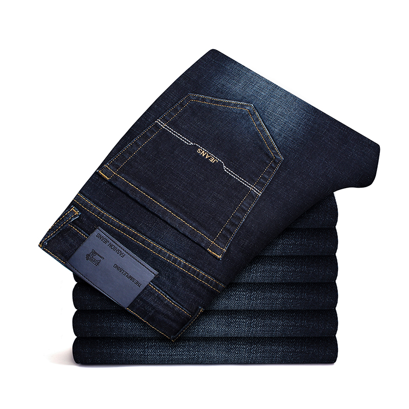 2020 Spring Autumn Men Jeans Skinny Stretch Washed Casual Solid Black  Men Denim Jeans Slim Retro Straight Male Quality