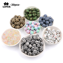 LOFCA 20pcs Tie dye leopard Terrazzo Dalmatian camo Silicone Loose Beads Teething Beads DIY Chewable Baby Safe Teether Round