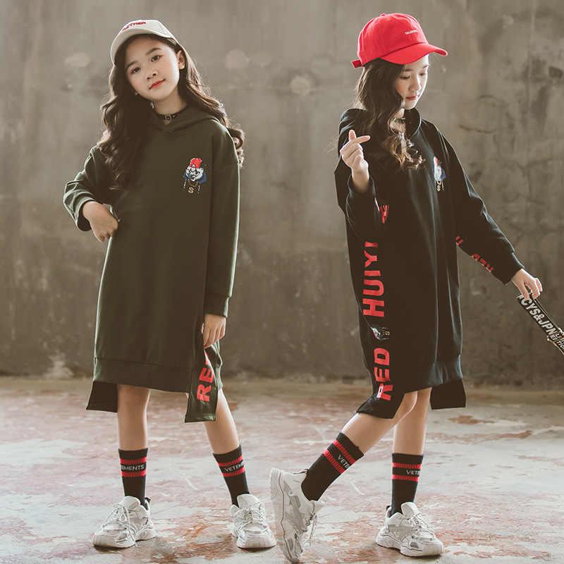 Meninas adolescentes preto longo hoodies outono crianças roupa dos desenhos animados carta imprimir moda moletom tamanho 8 10 12 anos