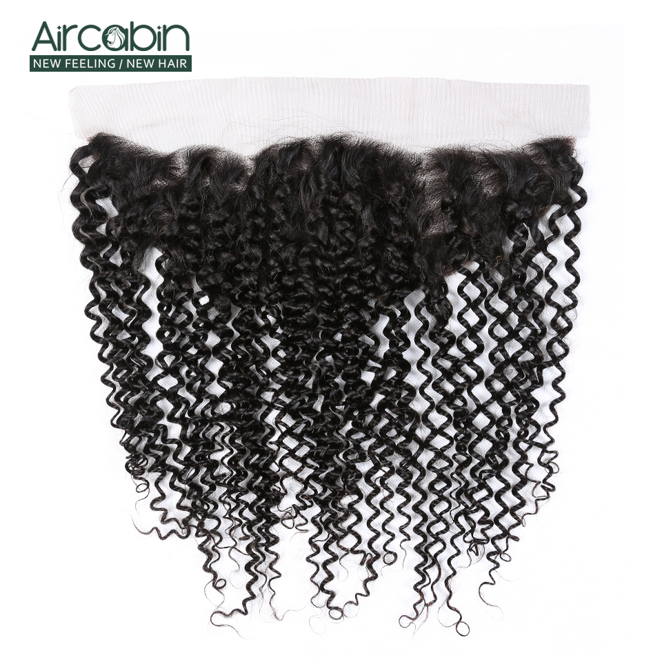 Aircabin Brazilian Kinky Curly 13x4 Frontal Closure Remy Human Hair Lace Frontal Closure Swiss Lace Natural Black Color