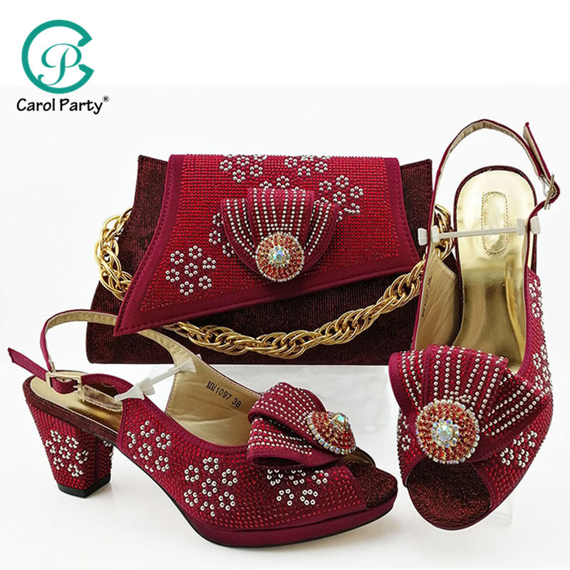 Wine color Latest Design Shoes Women Luxury 2019 Nigerian Women Wedding Shoes and Bag Set Decorated