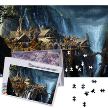 MOMEMO The Elf Castle Plane 1000 Pieces Puzzles Wooden Jigsaw 50*75cm Size Fantasy Landscape for Adults Teens Puzzles Games Toys
