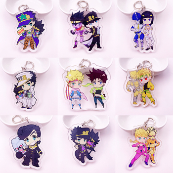 Cartoon Anime Jojos Bizarre Adventure Keychain Acrylic Key Ring Naruto/My Hero Academia Caesar Collection Gift Key Chains