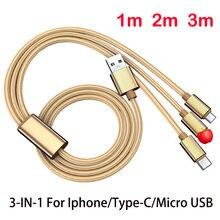 3 em 1 cabo usb para iphone5 6 7 mais 8 xr xs tipo-c micro usb para samsung xiaomi usb3a cabo de carregamento rápido 1m 2m 3 metros mais longo