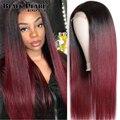 Бордовый 99J кружевной передний парик красный парик 1B 99J Омбре человеческие волосы парик прямые кружевные передние человеческие волосы пари...