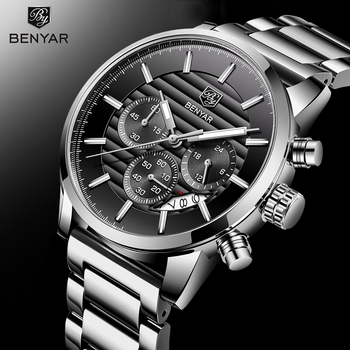 Luxury Brand Benyar Men Watches Full Steel Sports Wrist watch Men's Army Military Watch Man Quartz Clock Relogio Masculino fashion quartz watch men watches top brand luxury male clock stainless steel watches mens wrist watch hodinky relogio masculino