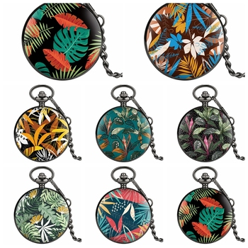 Fashion Colorful Customized Watches Multiple Tropical Plants Leaves Flowers Design Quartz Pocket Watch Chain Relojes de bolsillo - discount item  28% OFF Pocket & Fob Watches