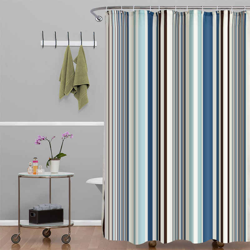 vertical stripes elegant polyester fabric shower curtain mildew resistant washable bathroom waterproof bath curtains