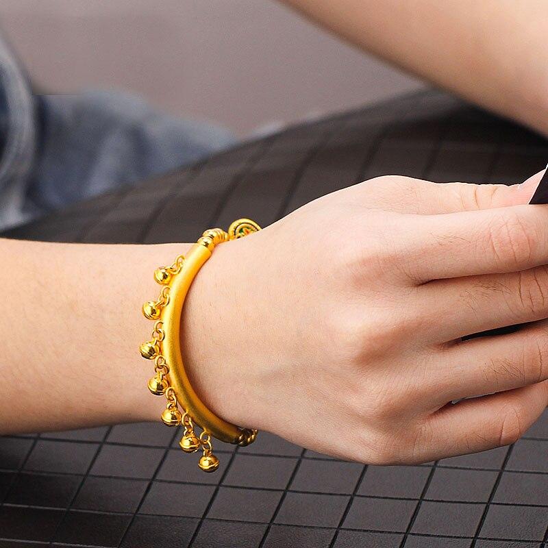 Offre spéciale 999 24K or jaune pendentif femmes 3D style ethnique petite cloche collier pendentif - 2