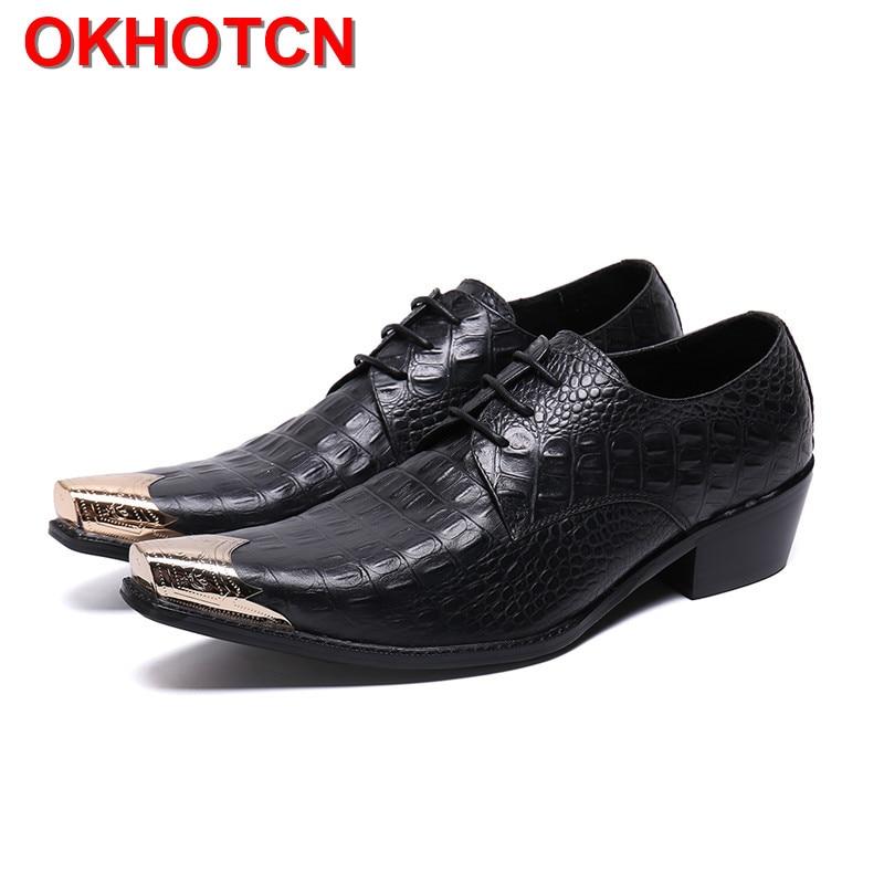 Noir Oxford chaussures hommes Alligator motif en cuir véritable formel hommes chaussures à lacets en métal orteil talons hauts hommes robe de mariée chaussures