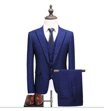 2019 New Arrival Men Business Suit Slim Fit Classic Male Suits Good Quality Wedding For 3 Pieces (Jacket+Pant+Vest)