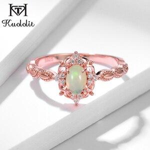 Image 2 - Kuololit Natürliche Opal Edelstein Ringe für Frauen 925 Sterling Silber Ring Hochzeit Handgemachte Engagement Band Teil Geschenk Edlen Schmuck