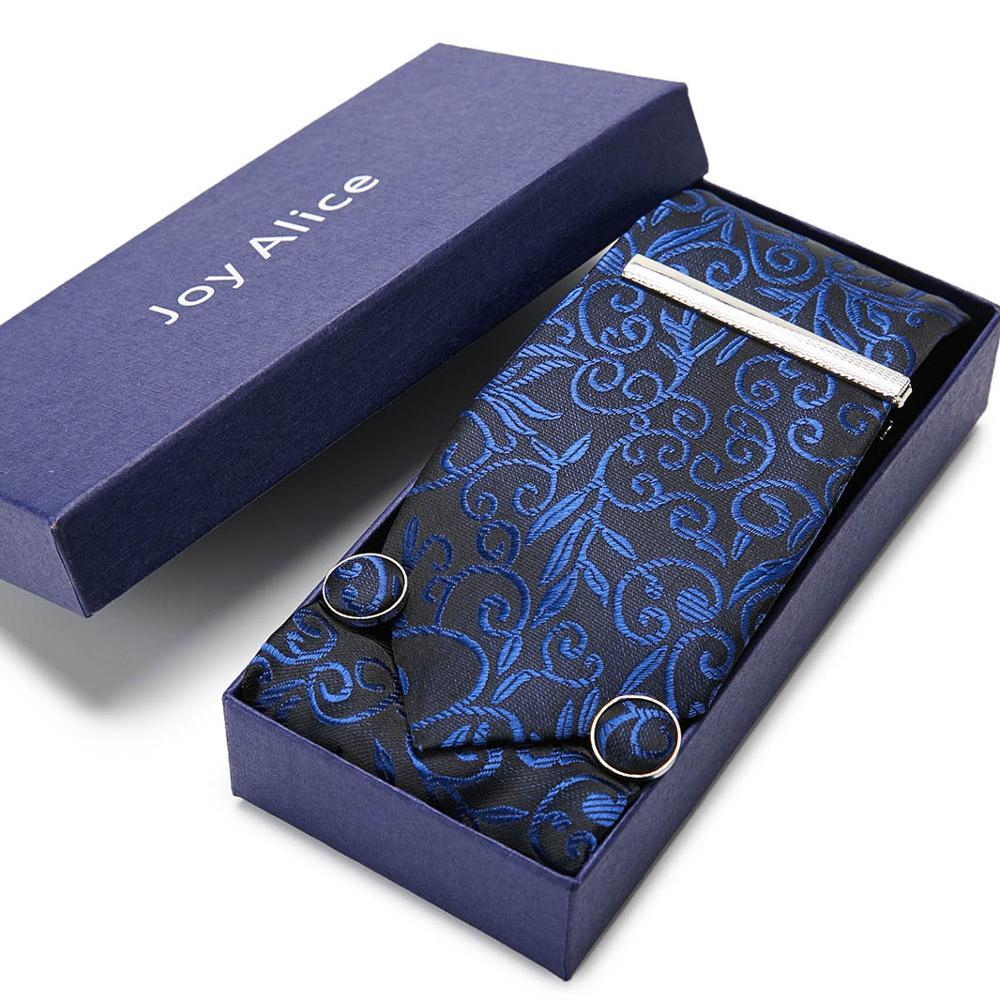 Classic Fahsion Design  Novelty Mens Silk 7.5cm Ties Gravat& Hanky& Cilp Box Gifts Set Ties For Men Wedding Party
