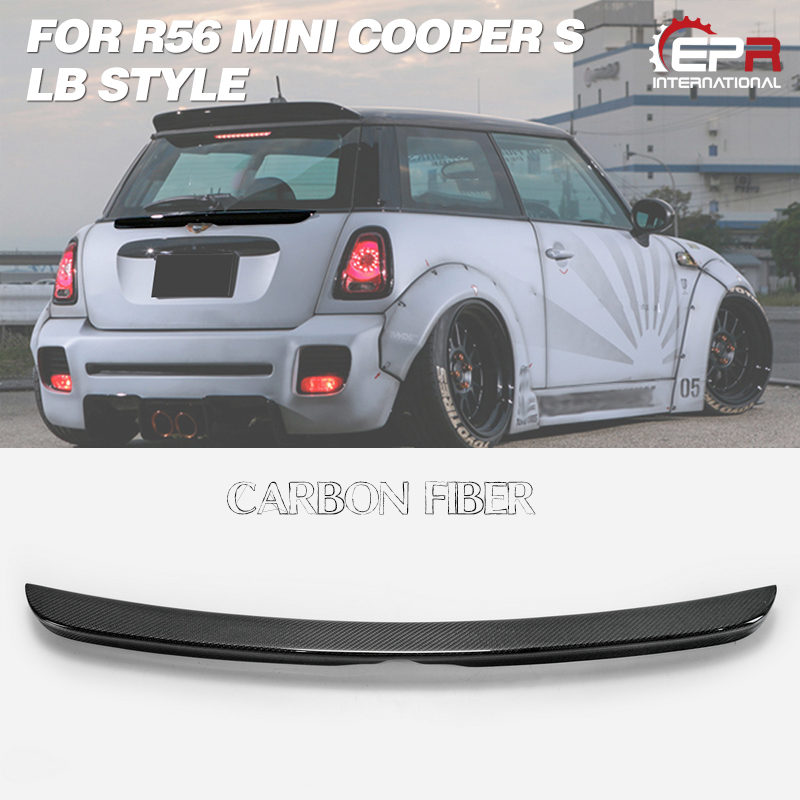 Car styling For R56 Mini Cooper S LB Style Carbon Fiber Rear Middle Spoiler (3 Door Hatch Only) Glossy Finish Trunk Splitter Lip