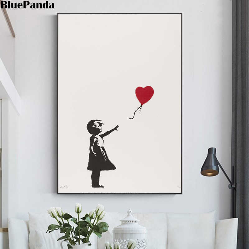 Banksy Graffiti Street Art Prints on Canvas Girl with Balloon Poster Wall Painting Decorative Picture for Living Room Home Decor