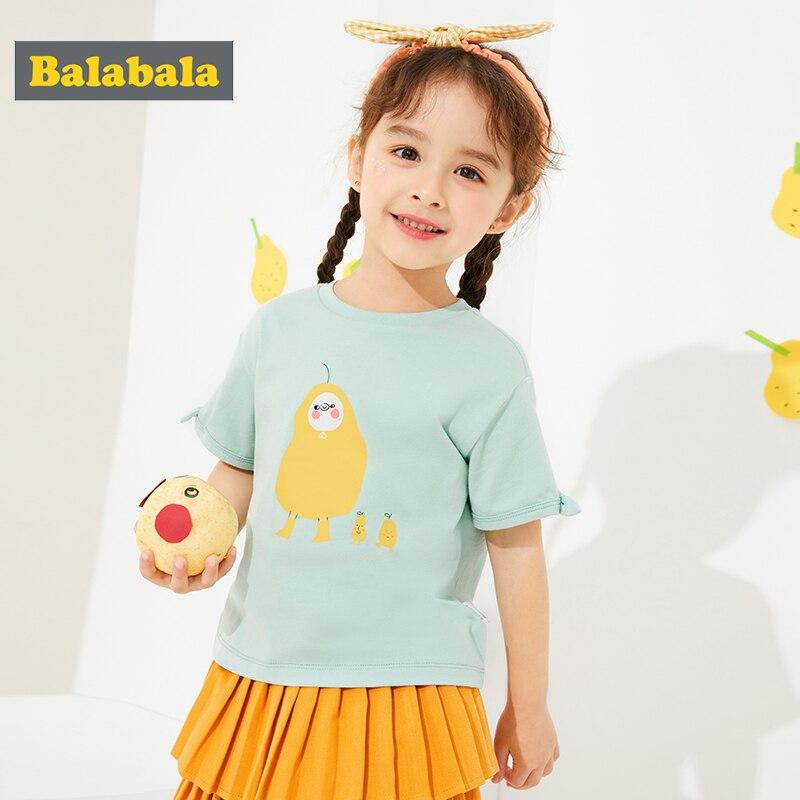 Balabala Girls Baby Short-sleeved T-shirt Cotton 2020 Summer New Fashion Baby Children Tops Cute  Beautiful