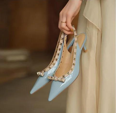 Women Rivet Sandals Slip On PU Woman Summer Bowtie Pointed Toe Thin Kitten Heels Female Sexy High Heels Bridesmaid Blue Shoes