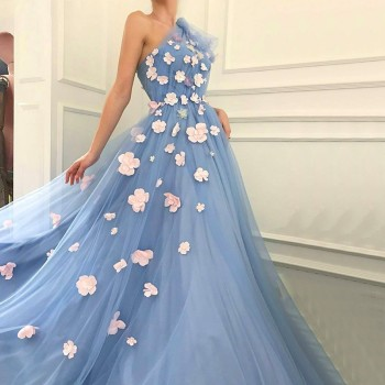 Fairy Blue Evening Dresses 2019 One Shoulder Handmade Flowers Pearls Tulle Graduation Party Long Gowns Prom - discount item  45% OFF Special Occasion Dresses