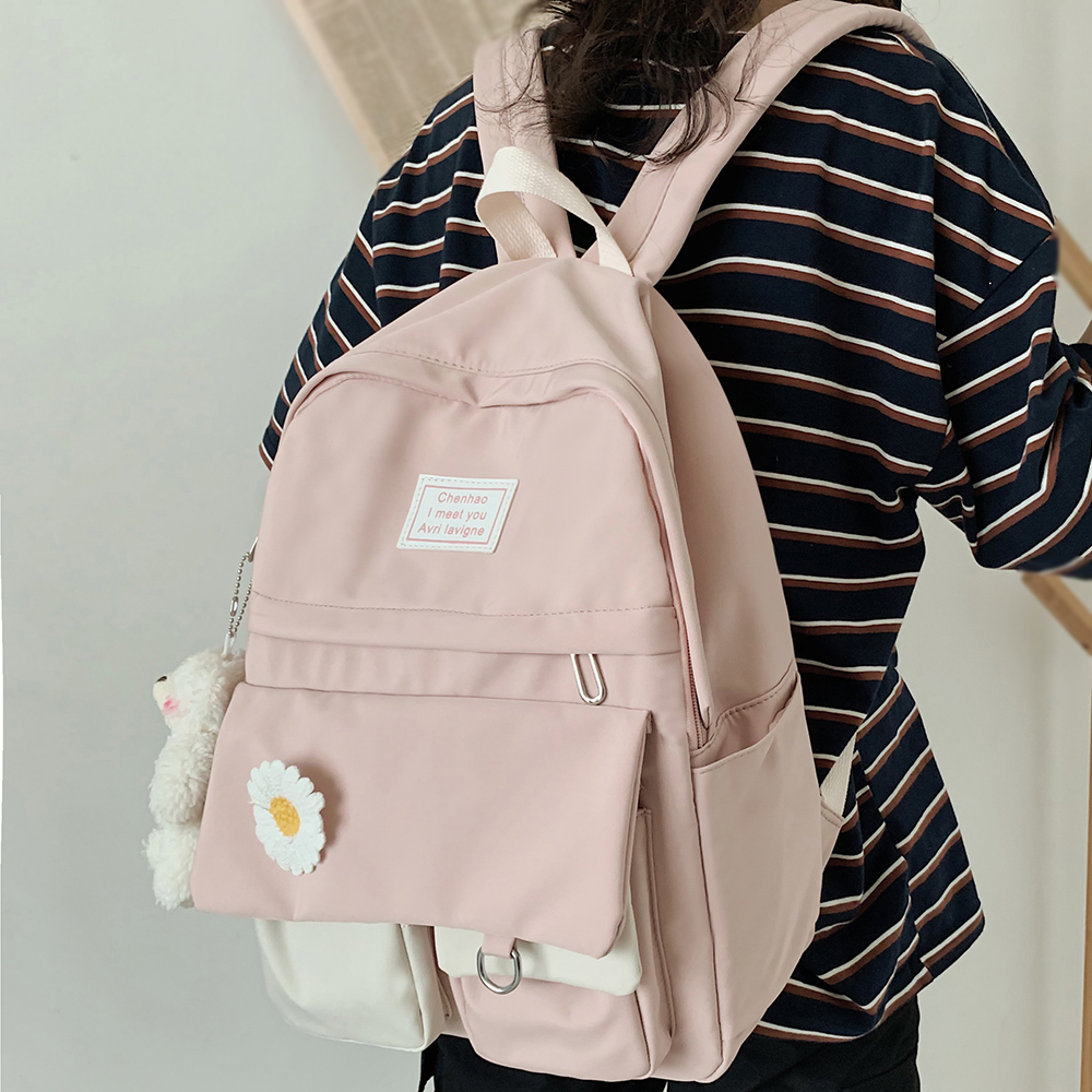 College Student Ladies Cute Backpack Women Flower Female Harajuku School Bags Book Kawaii Backpack Nylon Girl Trendy Bag Fashion