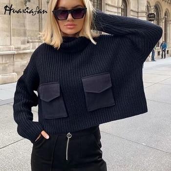 Huaxiafan Sweaters Women Turtleneck Casual Long Sleeve Office Wear Solid Pockets Knitted Sweaters Female Pullovers Loose Tops
