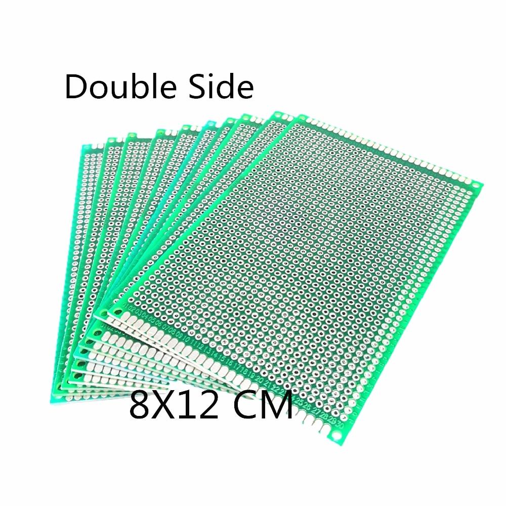Placa universal da fibra de vidro da placa de circuito impresso para a placa de solda de arduino 3 pces 8x12cm do protótipo de cobre do lado dobro do pwb 8*12cm