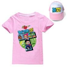 Verão unisex 12 cores teen titãs ir manga curta impressão 100% algodão camiseta + sunhat meninos meninas roupas crianças camiseta roupas