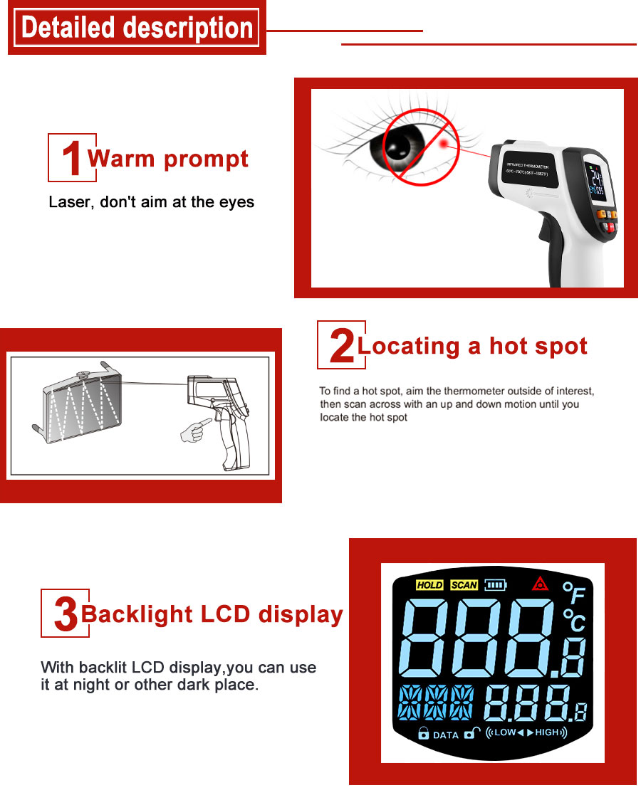 Hdfb5f8e551da4ea68996264f8a4e21d1h RZ IR Infrared Thermometer Thermal Imager Handheld Digital Electronic Outdoor Non-Contact Laser Pyrometer Point Gun Thermometer