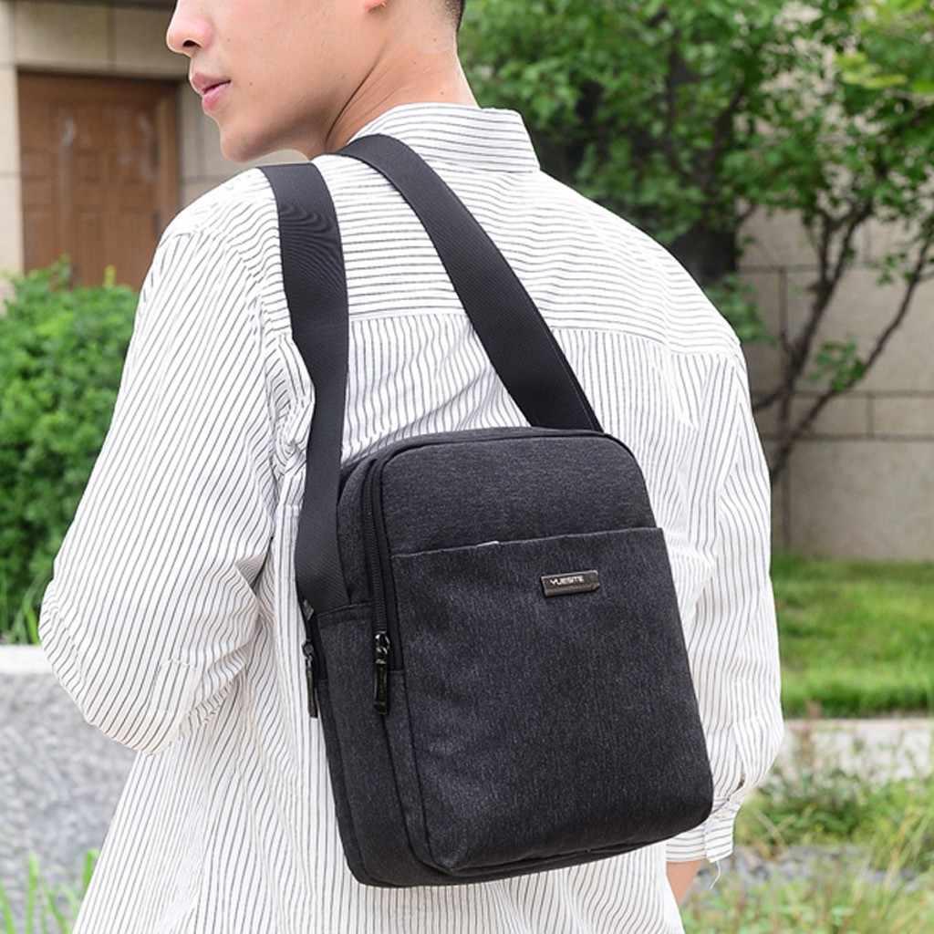 Famosa marca de náilon masculino saco de negócios casual dos homens sacos do mensageiro do vintage cor sólida crossbody saco bolsas de ombro masculino