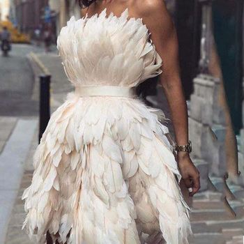 MYYBLE Sexy Strapless Off the Shoulder Sleeveless Feather Mini Length Short Prom Dresses Party Gown