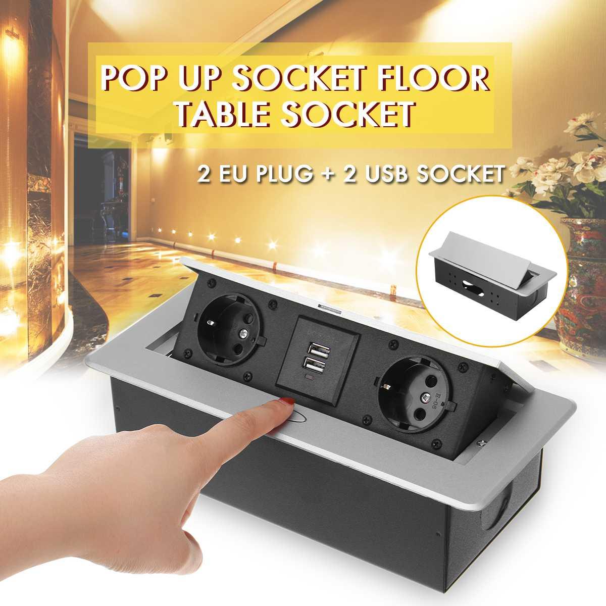 SWILET Silver Aluminum Alloy 16A Slow UP 2 Power EU Socket Dual USB Charge Port 2.1A Office Table Desktop Outlet Black Steel Box