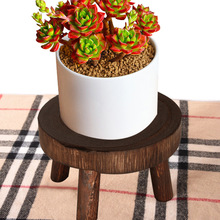 Outdoor Furniture Solid Wood Plant Shelves Round Bench Flower Pot Holder Plant Succulent Flower Pot Base Display Stand Stool