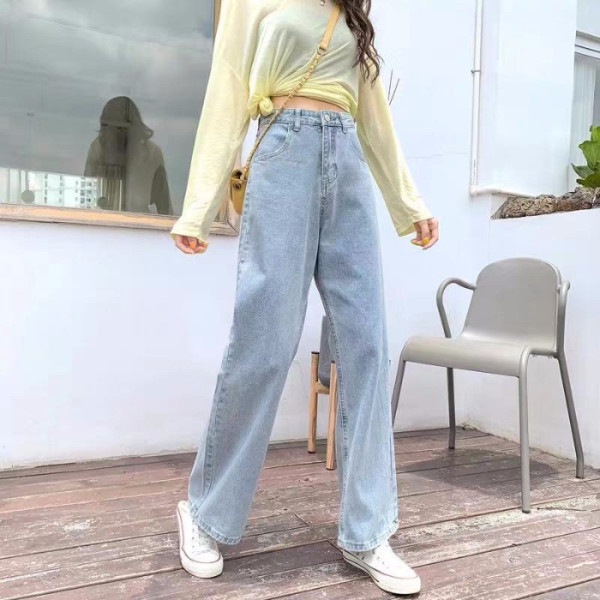 High Waist Jeans Light Blue Loose Plus Size Hyuna Straight Cut Street Casual 2020 New Korean Style Wide Leg Pants Free Shipping