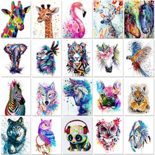 GATYZTORY 40x50cm Frameless Painting By Numbers Animals On Canvas Pictures By Numbers Home Decoration DIY minimalism Style