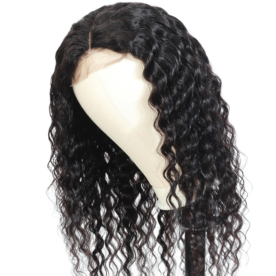 BUGUQI Hair Human Hair Wigs Deep Wave Wigs100% Brazilian Non-Remy Hair Glueless Wig Natural Color Lace Frontal Human Hair Wigs